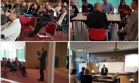 de heer Rosenmöller, voorzitter VO-Raad bezoekt de 2e netwerkdag op het J. Fruijtier College te Apeldoorn